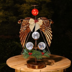 "20"" Metal Angel Pine & Berry Tabletop Décor"