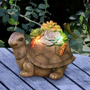 "6"" Solar Succulent Turtle Garden Statue with LED Lights"