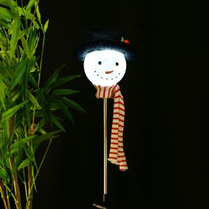 "33"" Solar Glass Snowman LED Garden Stake"