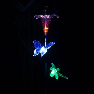 Solar Flower and Insect Trio Garden Stake
