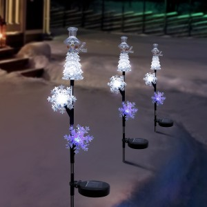 "33"" Solar Snowman and Snowflakes Christmas Stake with LED Lights"