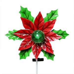 "54"" Solar Kinetic Holiday Flower Stake with LED Light"