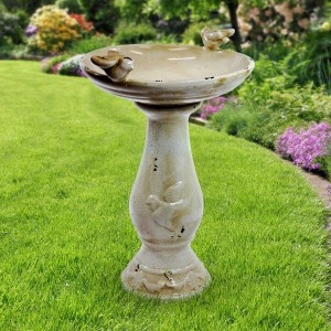 "24"" Tall Light Brown Antique Ceramic Birdbath"