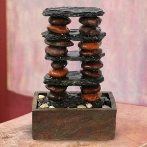 Eternity Stacked Stones Tower Tabletop Fountain