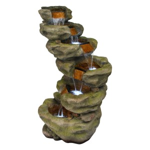 "48"" 6-Tier Pristine Waterfall Fountain with 30 White LED Lights"