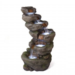 """48"""" 6-Tier Pristine Waterfall Fountain with 30 White LED Lights"""