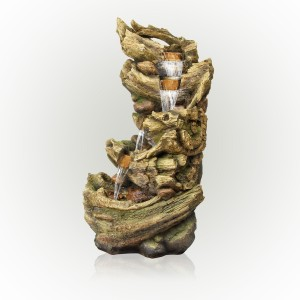 """47"""" 5-Tier Dark Colored Tree Trunk Waterfall Fountain with LEDs"""