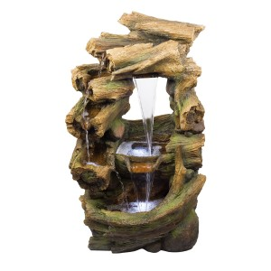 "39"" Splitting Rainforest Waterfall Fountain with LED Lights"
