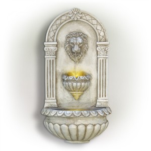 """31"""" Classical Walled Fountain with Lion Head and LED Lights"""