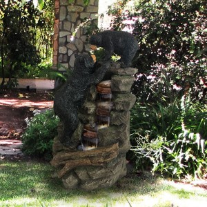"26"" Bear and Cub Fountain"