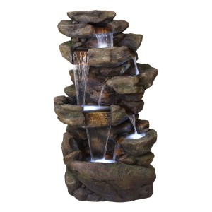 "51"" 6-Tier Amazonian Waterfall Fountain with 30 LED Lights"