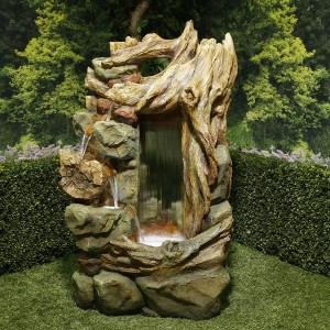 "55"" Natural Cascading Waterfall Fountain with LED Lights"