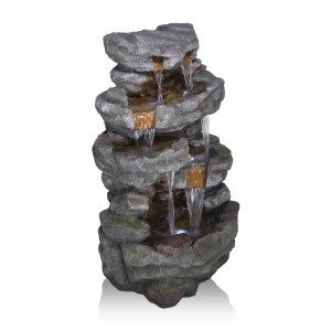 "76 L"" Tiered Rocky River Stream Fountain with White LED Lights"