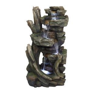 "39"" Cascading Stone Tower Fountain with Cool White LED Lights"