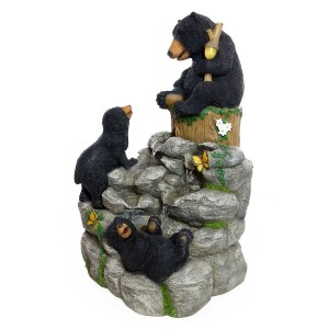 "25"" Black Bears Climbing Fountain with LED Light"