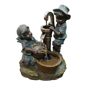 "Alpine 20"" Tall Boy and Girl Fetching Water Fountain"