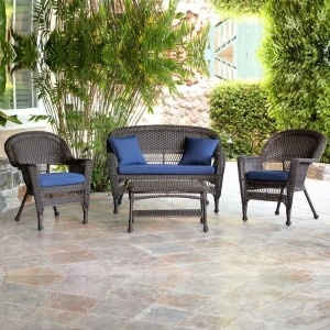 Wicker-4 Piece Espresso Conversation Set