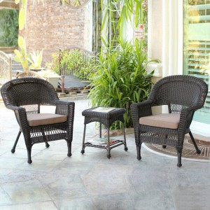 Wicker-3 Piece Espresso Conversation Set