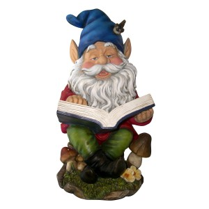 Garden Gnome Reading Book Statue Ornament