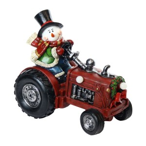 "9"" Snowman on Tractor Décor w/ Color Changing LED Lights"