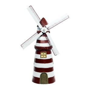 """30"""" Red Striped Lighthouse Garden Statue with Windmill"""