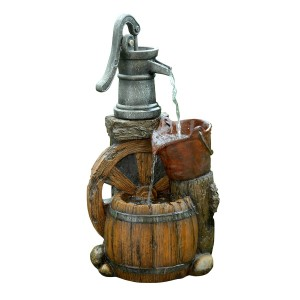 "Alpine 24"" Tall Old Fashion Pump Barrel Fountain"