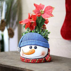 "6"" Snowman Flower Pot with Blue Hat"