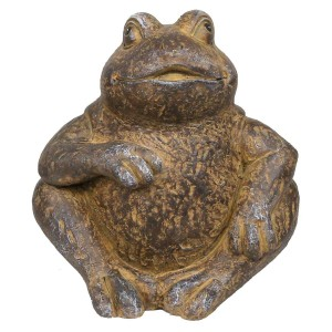 """6"""" Laid Back Sitting Frog Garden Statue with Rustic Finish"""