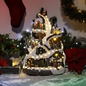 """18"""" Christmas Village Turning Train, Skaters and Music"""