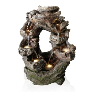 Rainforest Tiered Wood Cascading Fountain with LED Lights