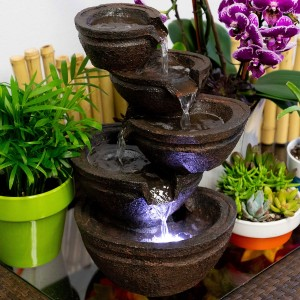 "13"" Tired Bowls Fountain with White LED lights"
