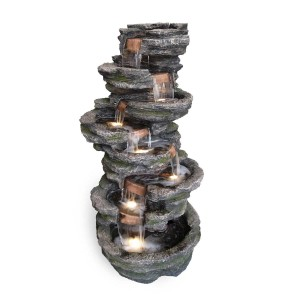 "58"" Eight Tier Rock Fountain with LED Lights"