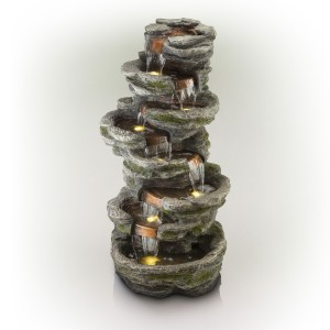 """58"""" Eight Tier Rock Fountain with LED Lights"""