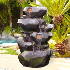 Rock Tier Cascading Fountain with LED Lights