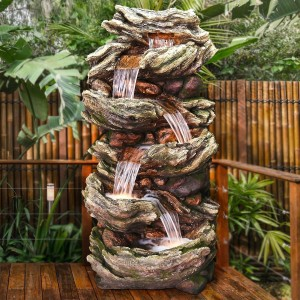 "81"" 6 Tier Ancient Willow Tree Bark Fountain with LED Lights"