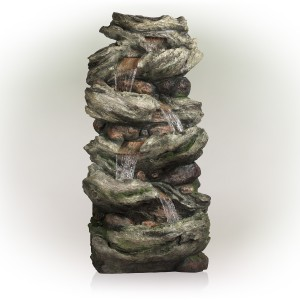 """81"""" 6 Tier Ancient Willow Tree Bark Fountain with LED Lights"""