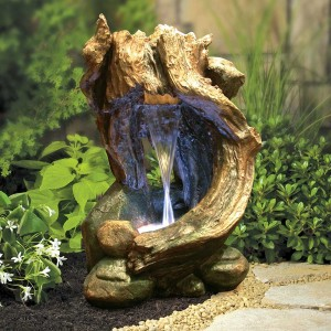 "Alpine 22"" Rainforest Forest Floor Fountain w/ LED Light"