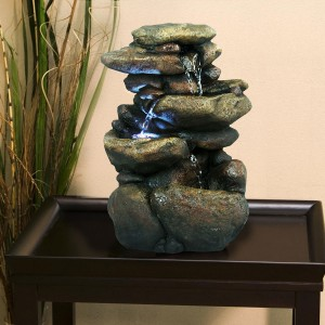 "11"" Tall Lighted 3 Tier Rock Fountain"