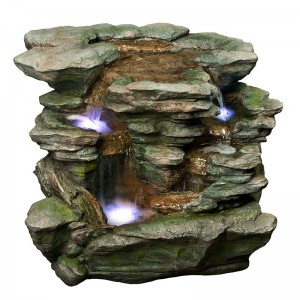 "25"" Tall Rock Double Waterfall w/ White LED Light"