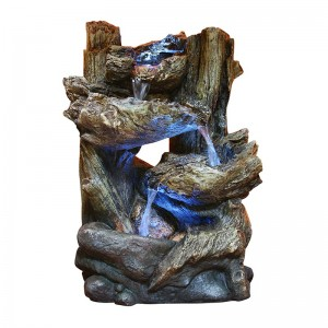 "14"" Tall Alpine Tiered Log Fountain"