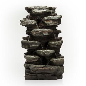 "39"" Tall Tiering Rocks Floor Fountain w/ LED Lights"