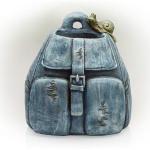 "12"" Rugged Denim Backpack Flower Planter with Snail"