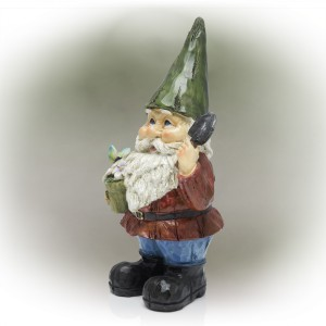 "12"" Green Hat Gnome Garden Statue with Flower Pot on Hand"