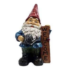 "12"" Red Hat Gnome Garden Statue with Vertical WELCOME Sign"