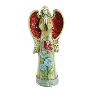 "24"" Tall Angel Statue with Red Glitter Mosaic Wings"
