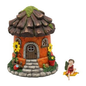 Daisy Hut Solar Fairy House with Daisy Fairy Figurine