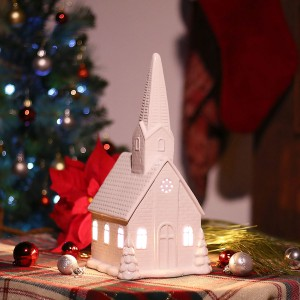 "13"" White Ceramic Church Decor"