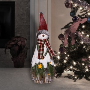 "26"" Festive Christmas Snowman Candle Holder"