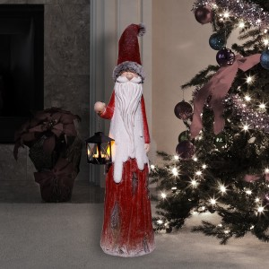 "36"" Christmas Country Santa with Tea Light Candle Holder"
