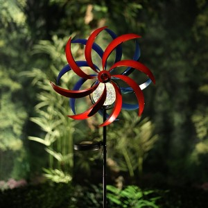 Solar Blue and Red Windmill with Glass Ball